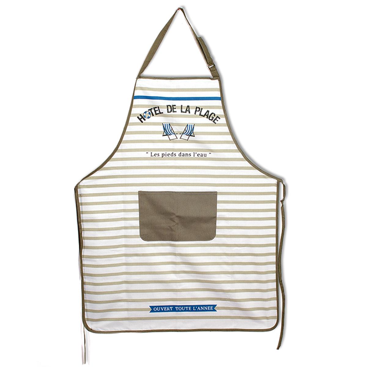 Tablier de cuisine coton \'Cabourg - Hotel de la Plage\' taupe bleu blanc - 90x70 cm - [A0248]