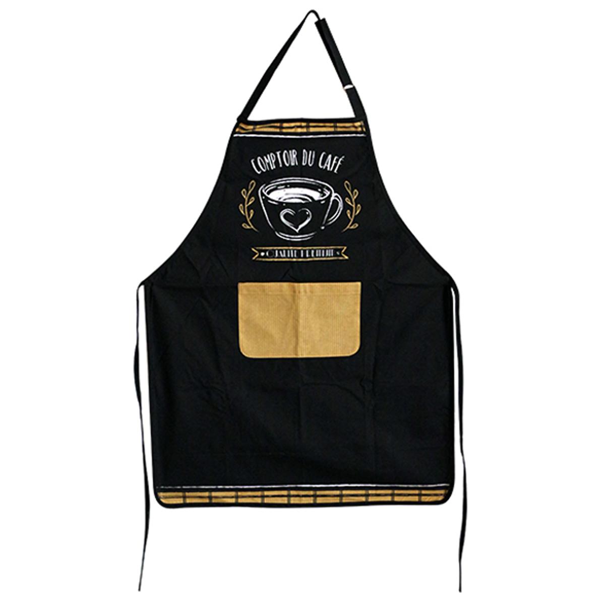 Tablier de cuisine coton \'Comptoir du Café\' noir marron - 90x70 cm - [A0251]