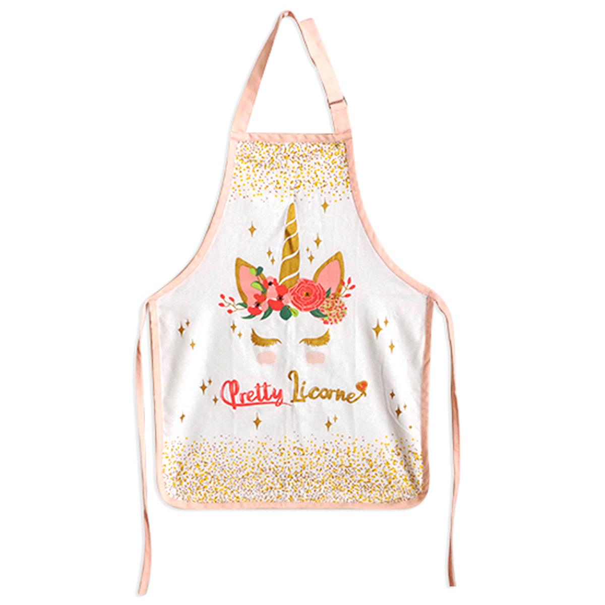 Tablier de cuisine enfant coton \'Licorne My Unicorn\' rose blanc (Pretty Licorne) - 61x45 cm - [A0252]