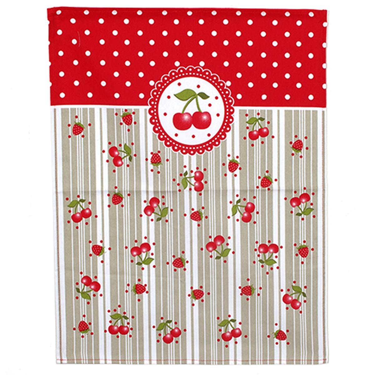 Torchon coton \'Cerises\' rouge taupe - 60x45 cm - [A0255]