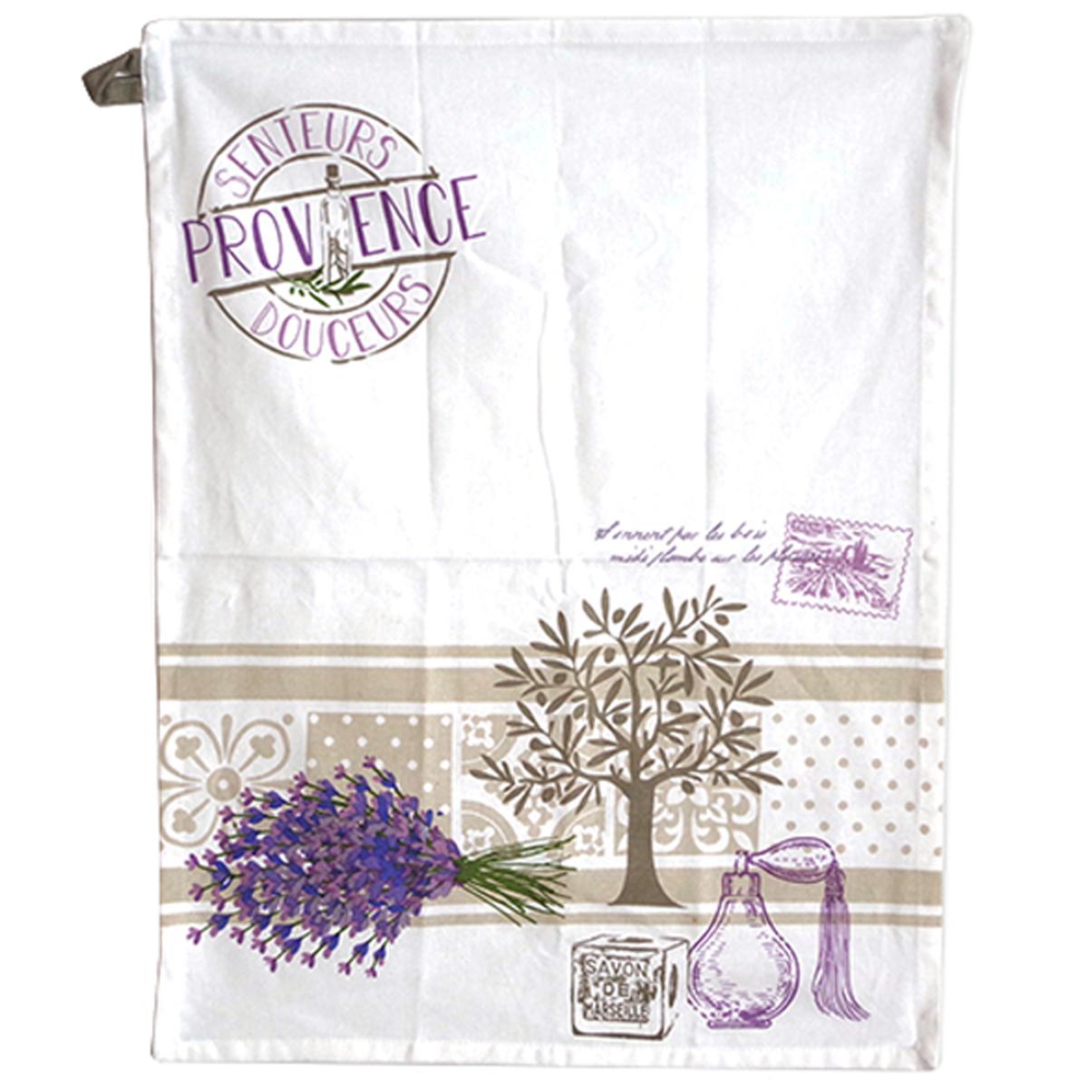Torchon coton \'Provence\' lavande blanc - 60x45 cm - [A0257]