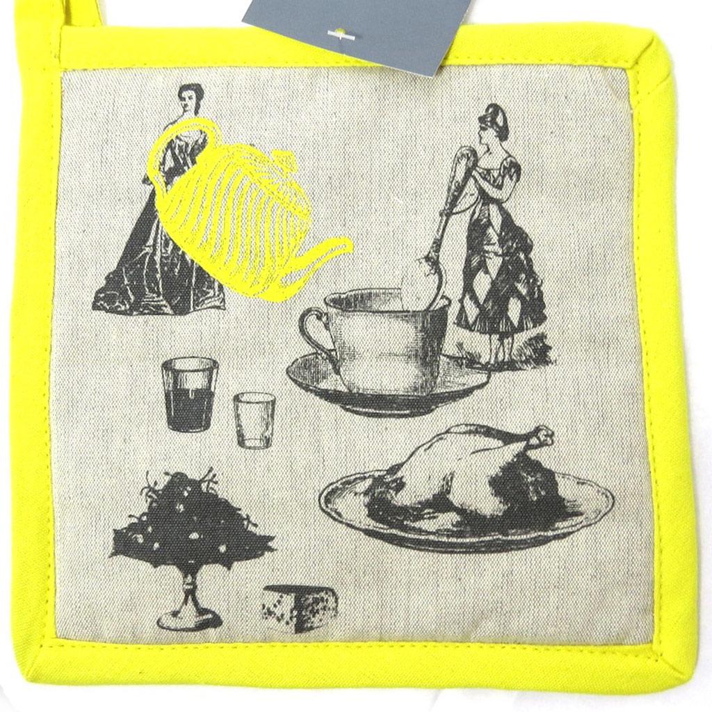 Manique coton \'Belle Epoque\' taupe jaune - 20x20 cm - [L4242]