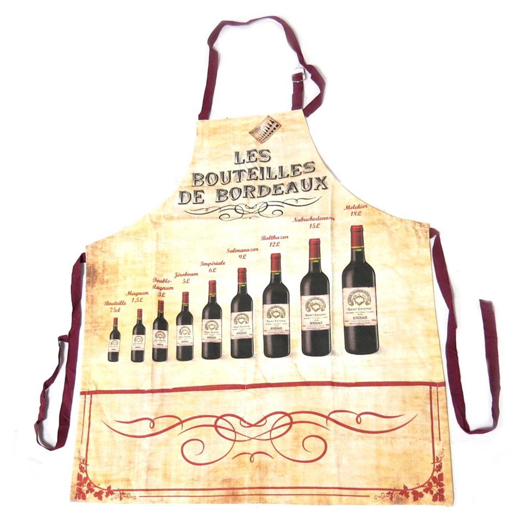 Tablier créateur \'Terroir Français\' beige bordeaux (Les bouteilles de Bordeaux) - 80x65 cm - [N7956]