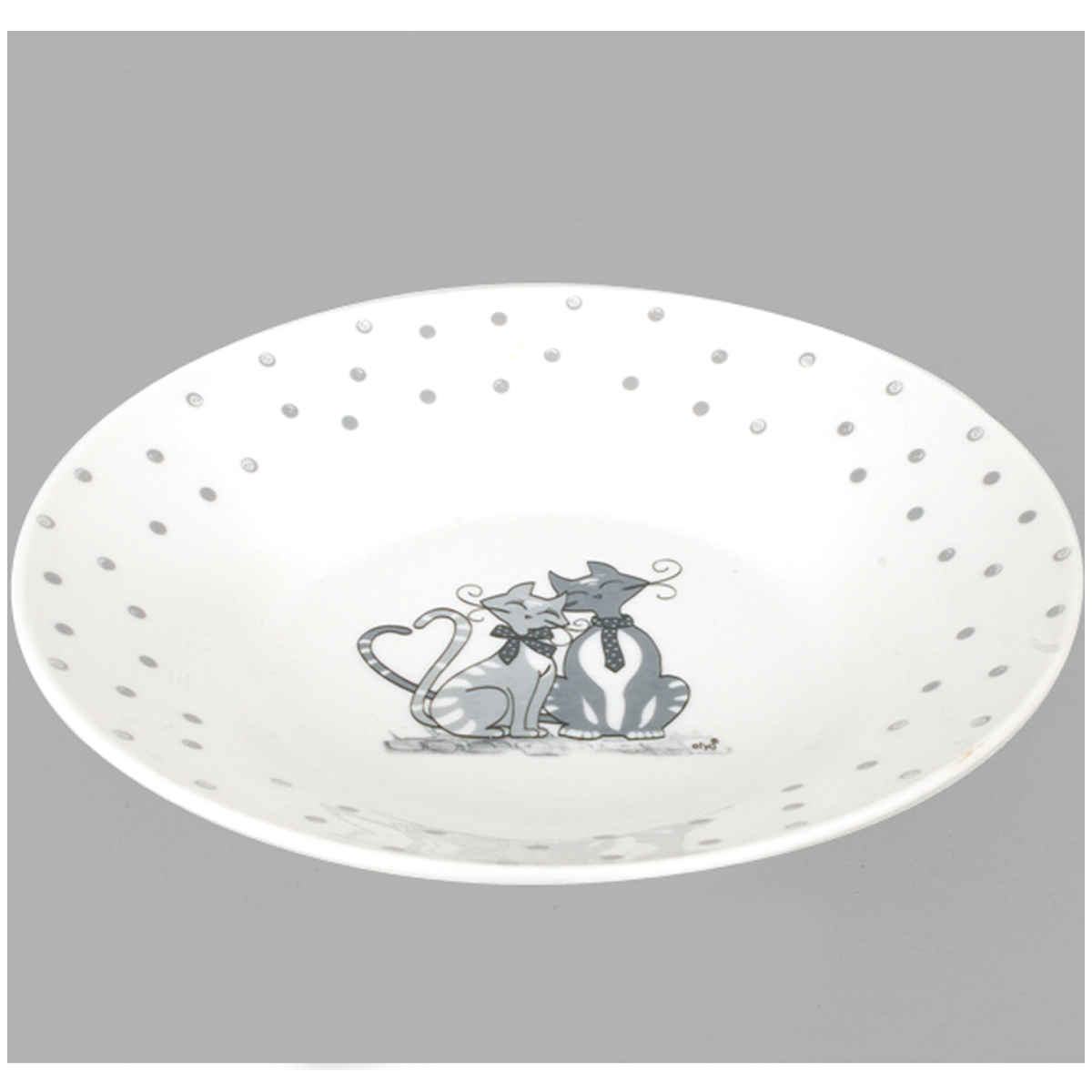 Assiette creuse porcelaine \'Chats\' gris ivoire - 20 cm - [A0289]