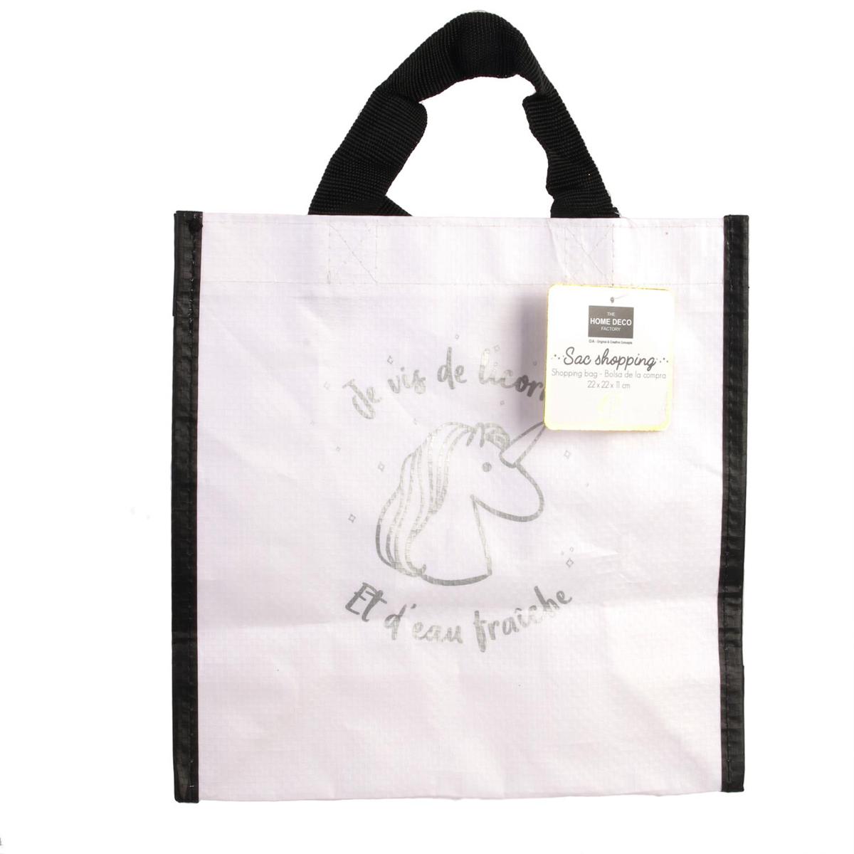 Petit sac shopping \'Licorne My Unicorn\' blanc argenté (je vis de Licorne et d\'eau fraîche) - 22x22x10 cm - [Q3619]