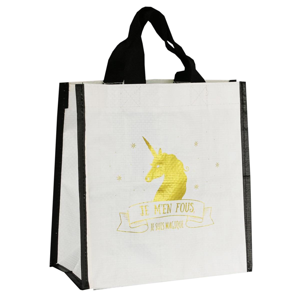 Petit sac shopping \'Licorne My Unicorn\' blanc doré (je m\'en fous, je suis Magique) - 22x22x10 cm - [Q3620]