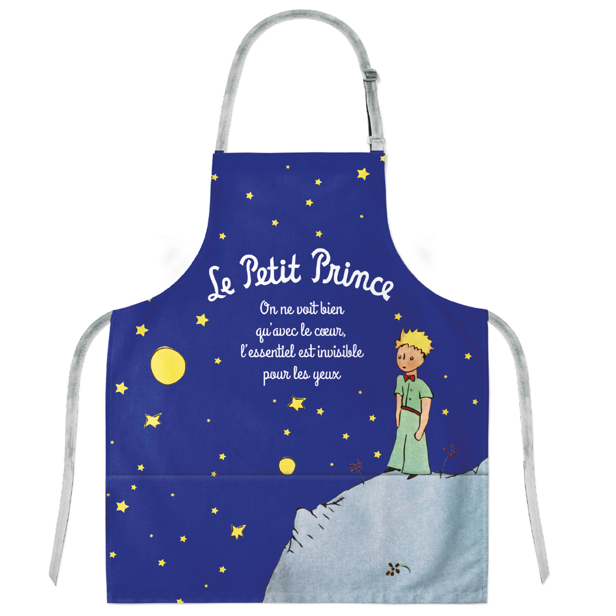 Tablier enfant coton \'Le Petit Prince\' marine (nuit étoilée) - 57x49 cm - [Q8316]