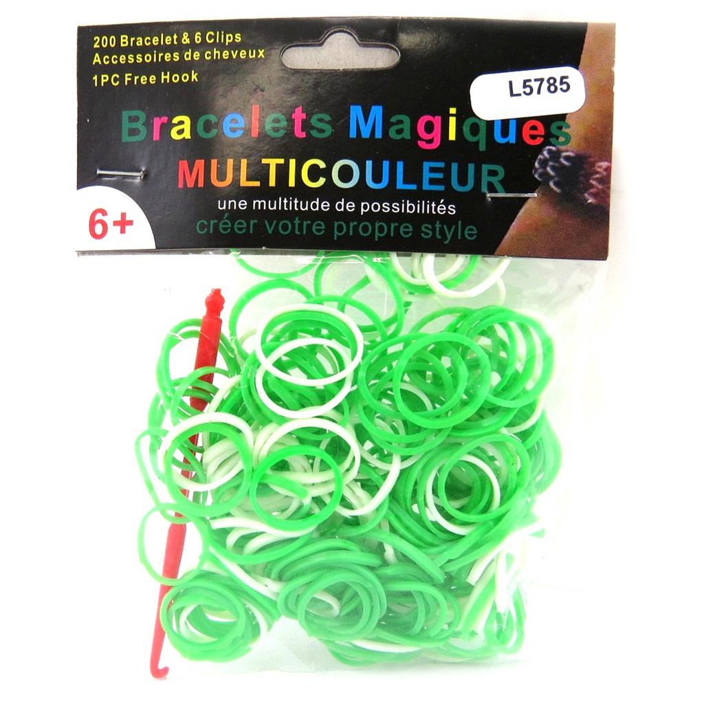 \'Looms\' ou \'bracelets magiques\' vert blanc - [L5785]