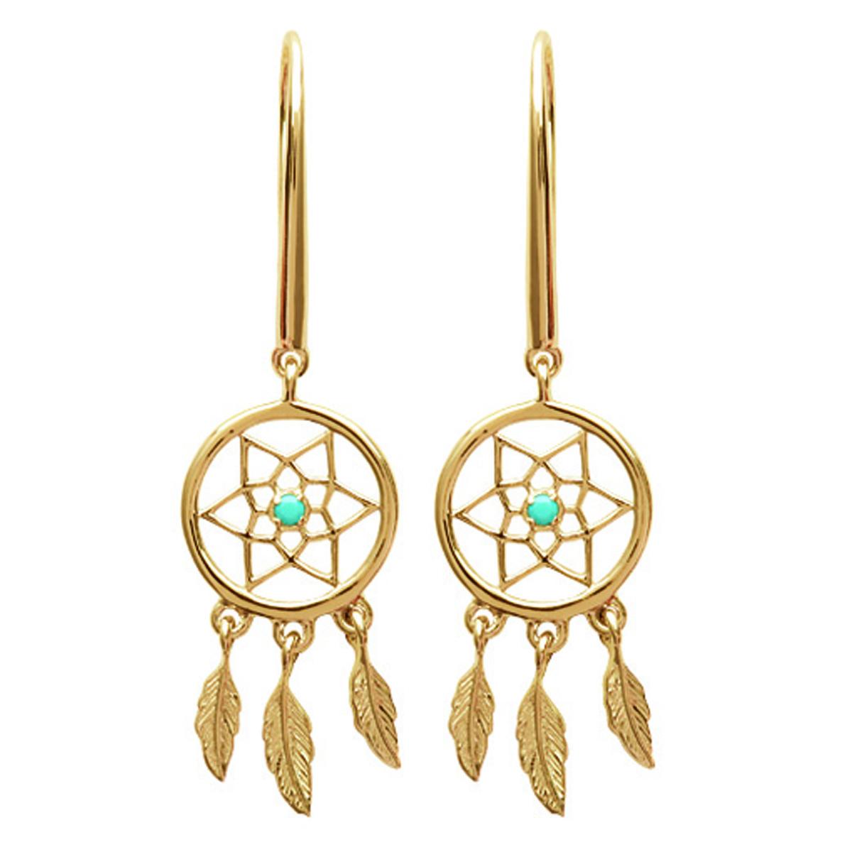 Boucles \'Navajos\' turquoise doré (dreamcatcher) - 20x10 mm - [N6984]