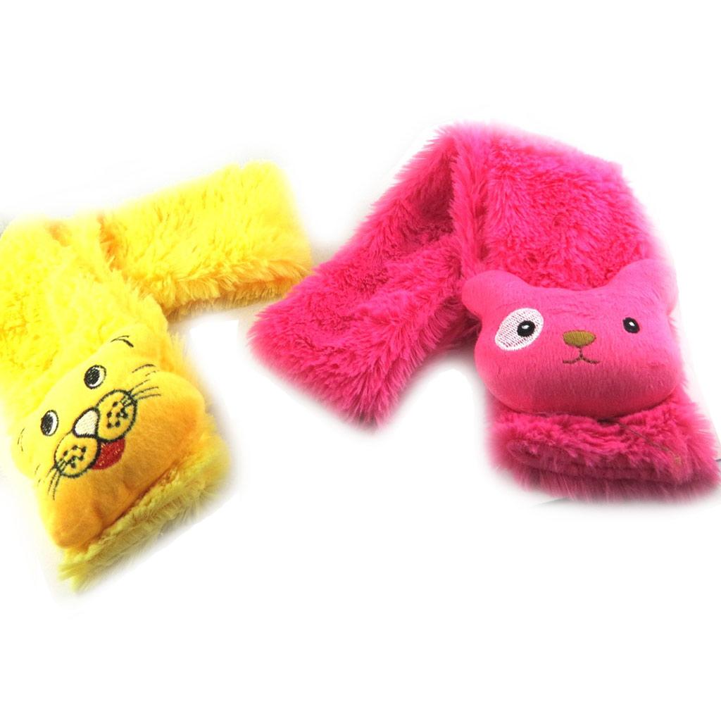 2 écharpes enfant \'Un amour d\'Animaux\' jaune rose - [K7872]