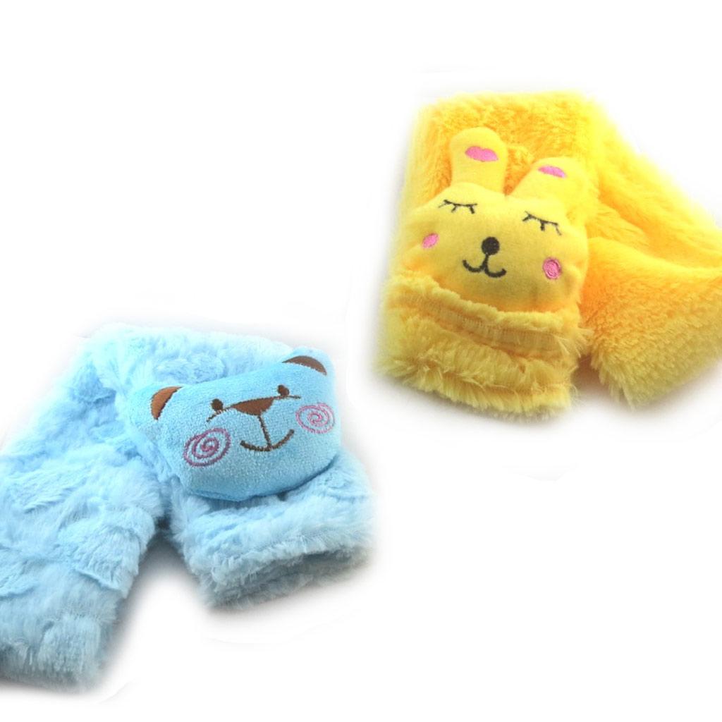 2 écharpes enfant \'Un amour d\'Animaux\' bleu jaune - [K7877]