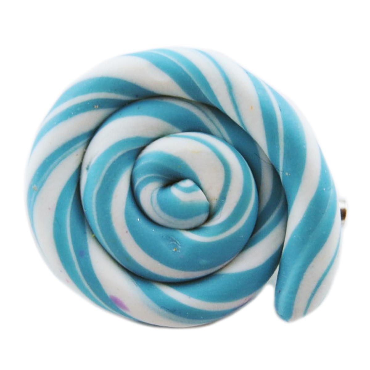 Broche artisanale \'Lollipops\' turquoise blanc - 25x20 mm - [R2777]