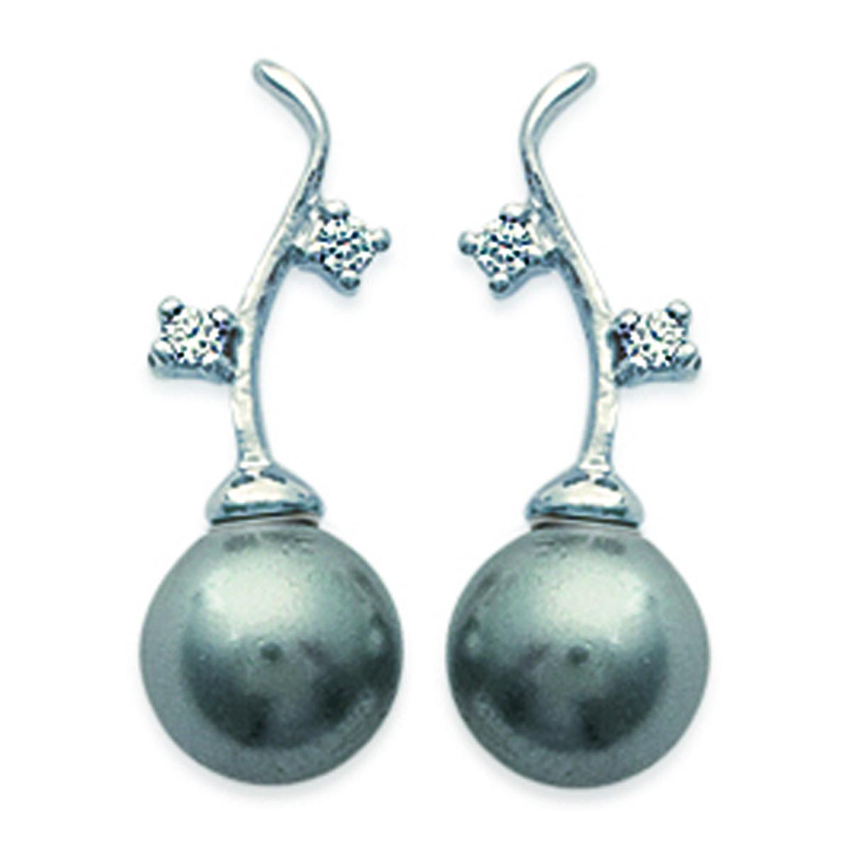 Boucles Argent \'Perles Mélodieuses\' Gris argenté (rhodié) - perle 7 mm - [D7281]
