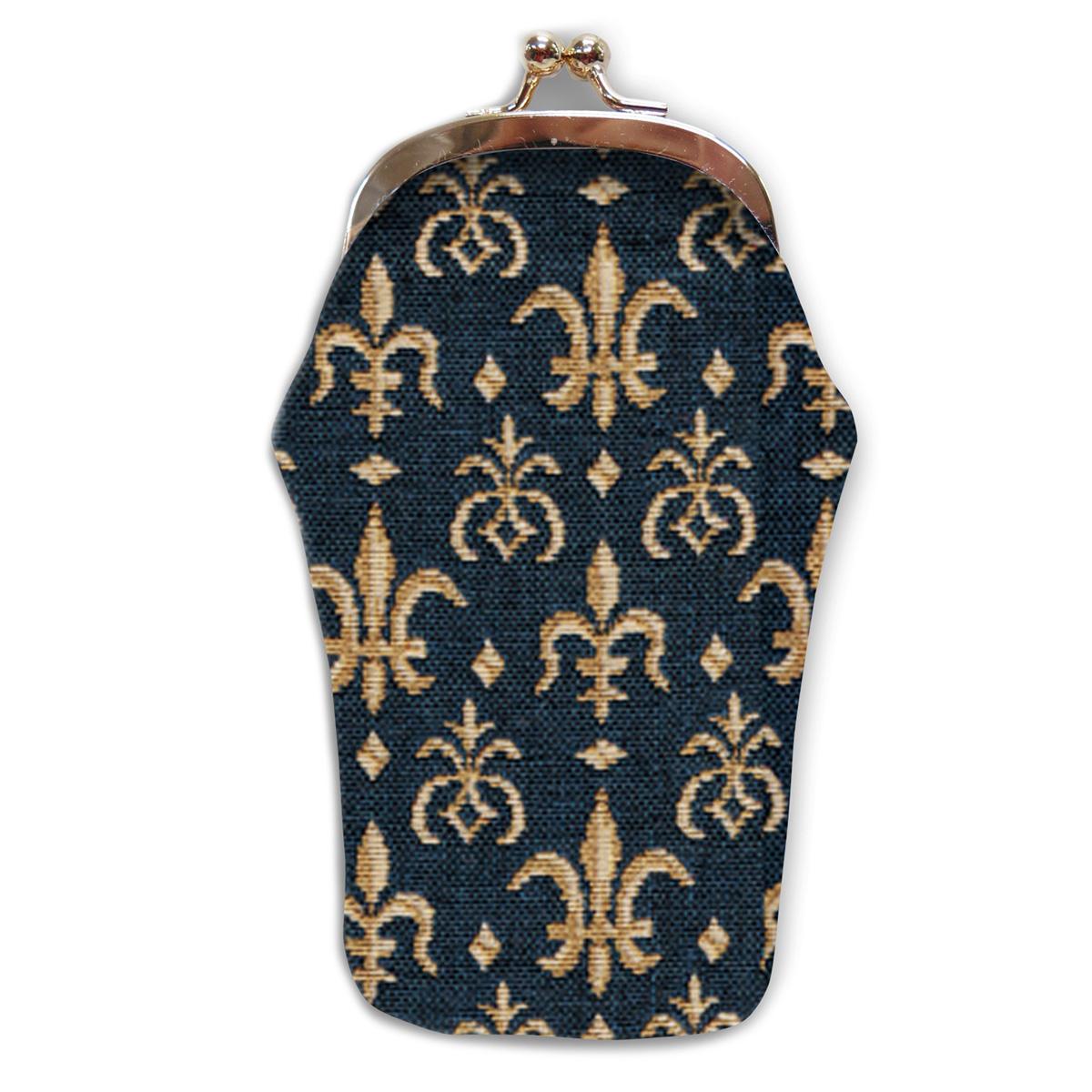 Etui à lunettes artisanal \'Royal Tapisserie\' bleu doré (Lys) - 18x8 cm - [A0315]