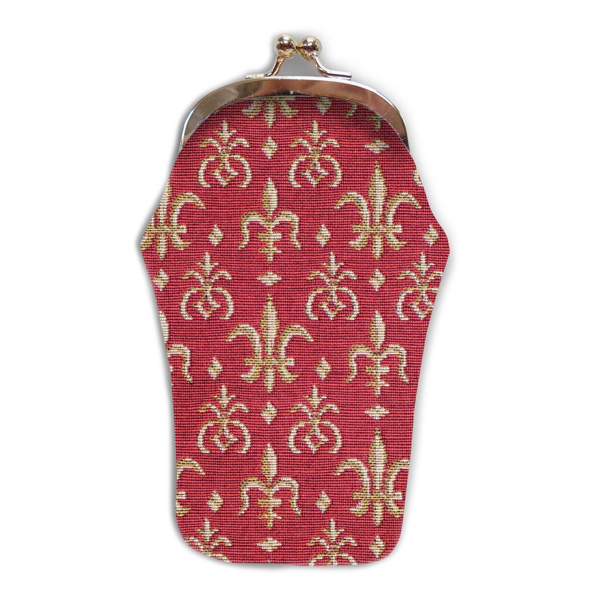 Etui à lunettes artisanal \'Royal Tapisserie\' rouge doré (Lys) - 18x8 cm - [A0316]