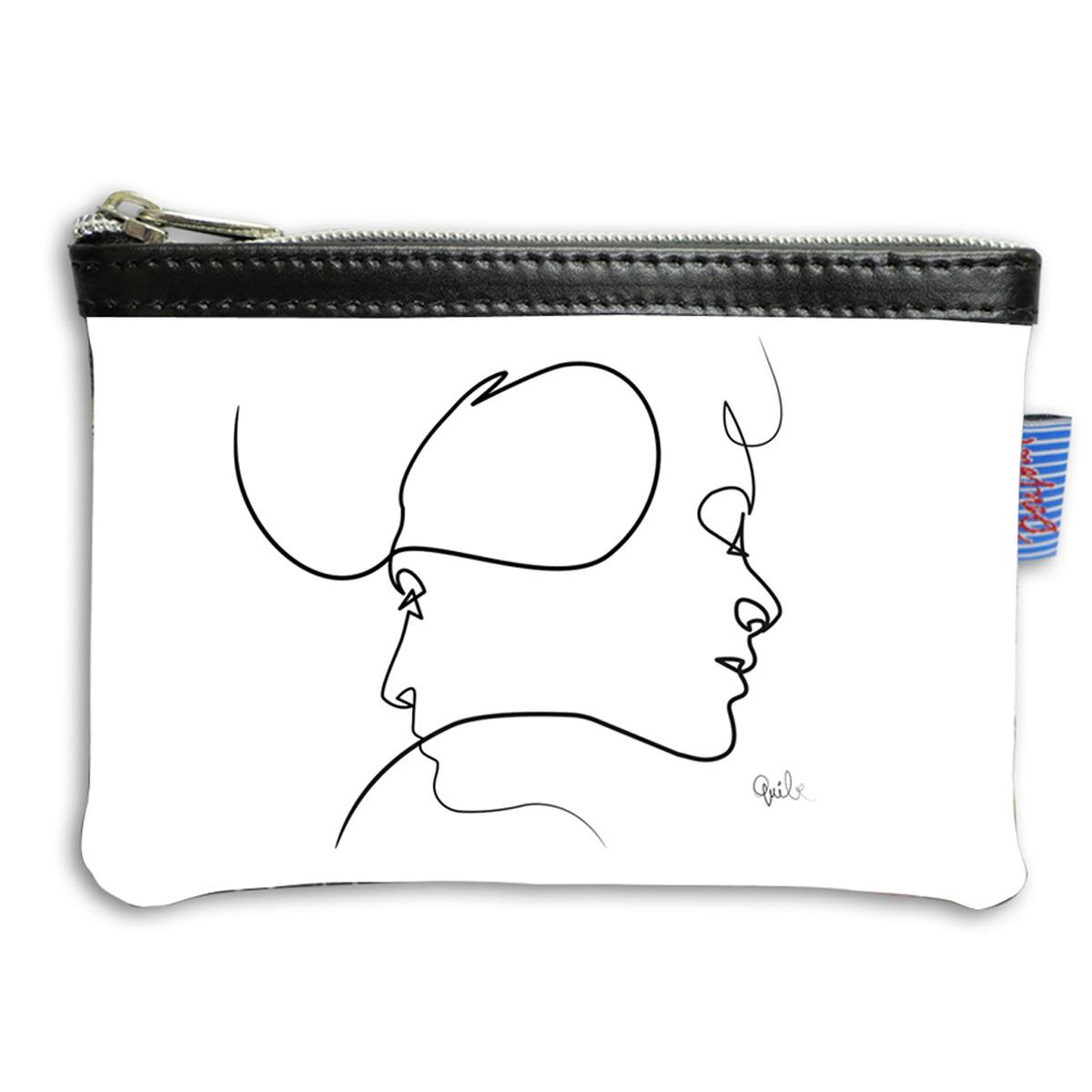 Pochette trousse artisanale \'Quibe\' blanc noir (Presque - visages) - 14x10x2 cm - [A0324]