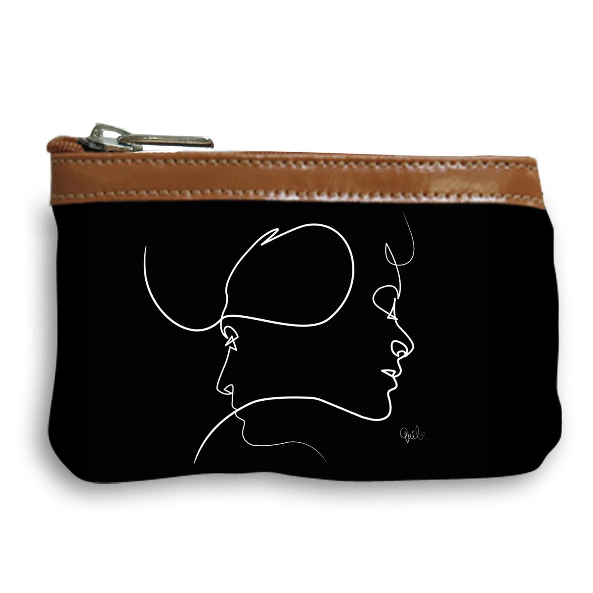 Pochette trousse artisanale \'Quibe\' noir marron (Presque - visages) - 14x10x2 cm - [A0325]