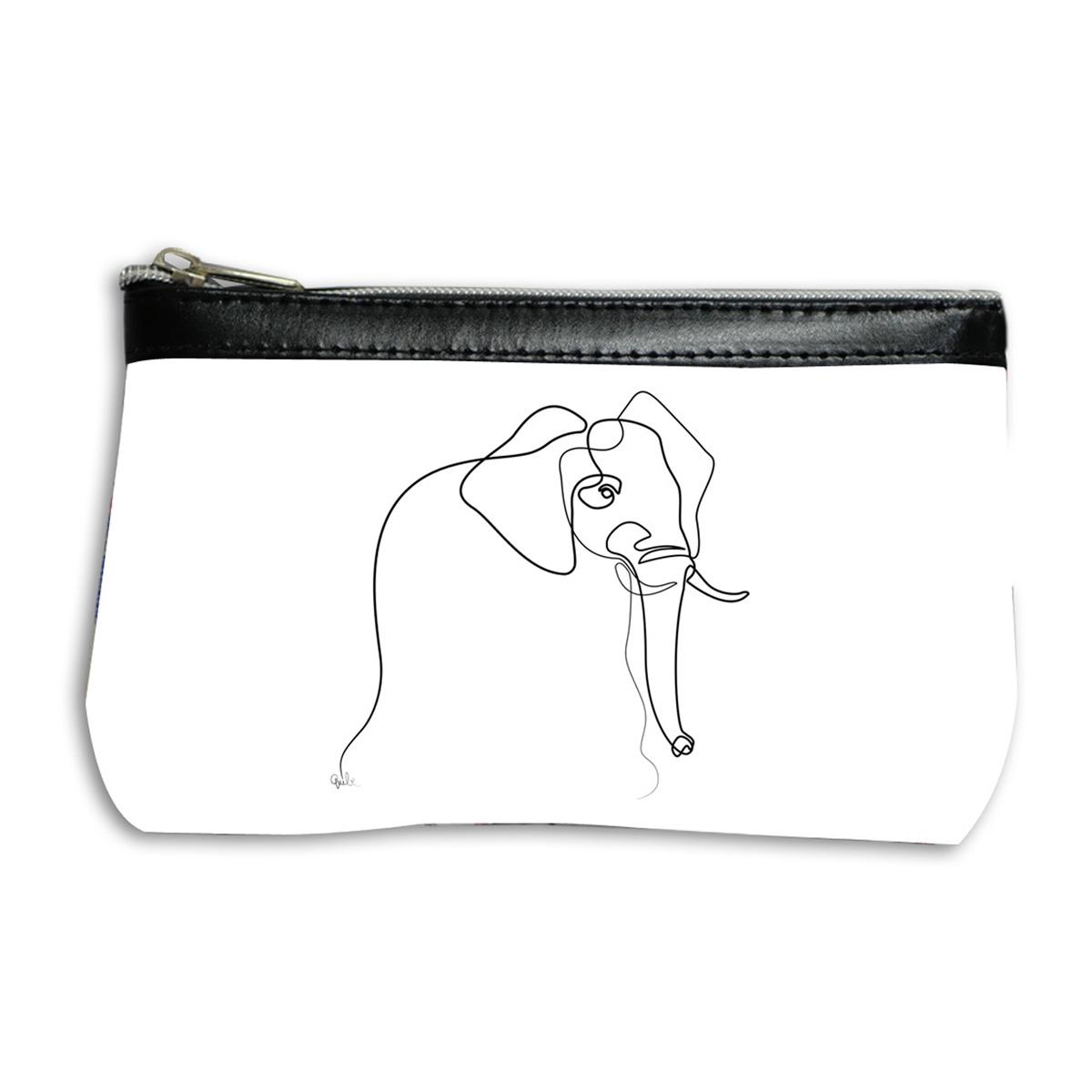 Pochette trousse artisanale \'Quibe\' blanc noir (Elephant) - 17x12 cm - [A0326]