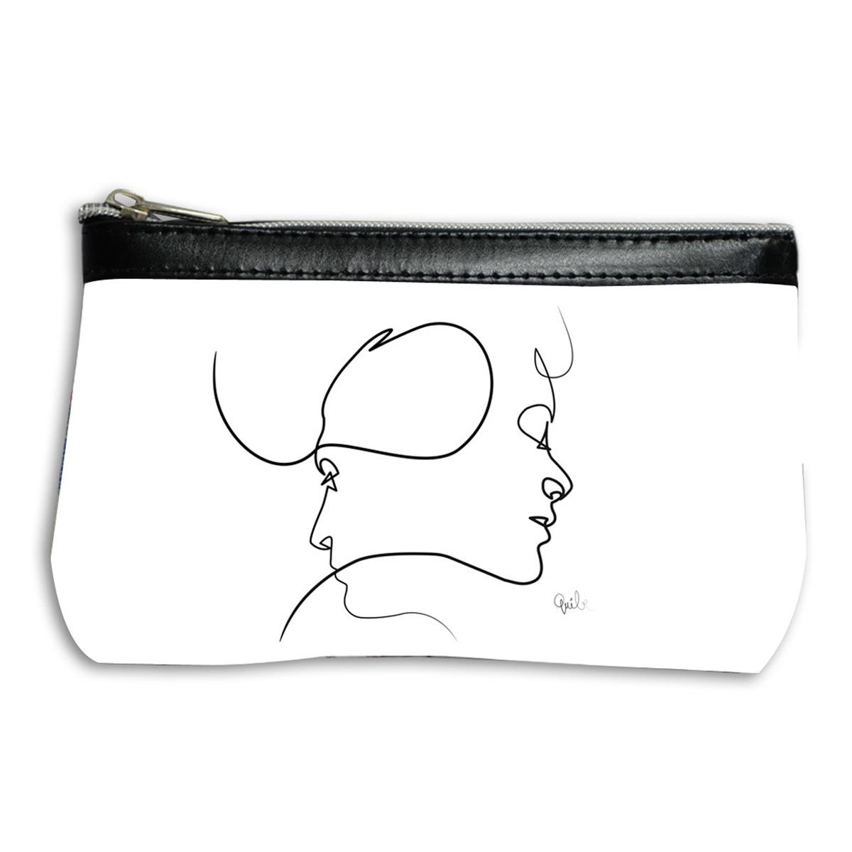 Pochette trousse artisanale \'Quibe\' blanc noir (Presque - visages) - 17x12 cm - [A0327]