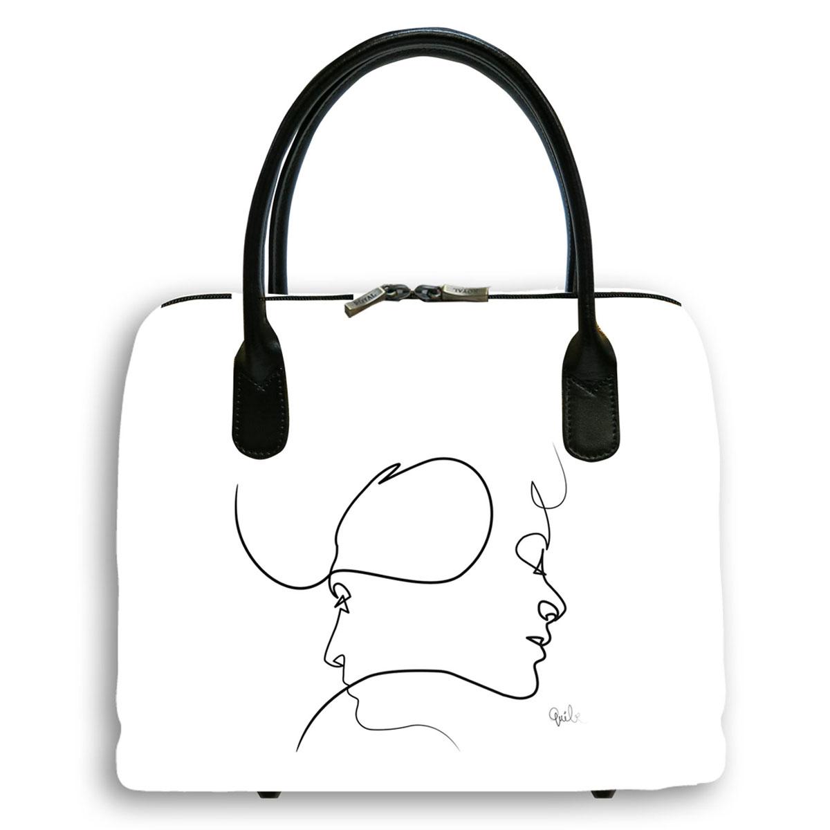 Sac créateur artisanal \'Quibe\' blanc noir (Presque - visages)  - 30x26x11 cm - [A0329]