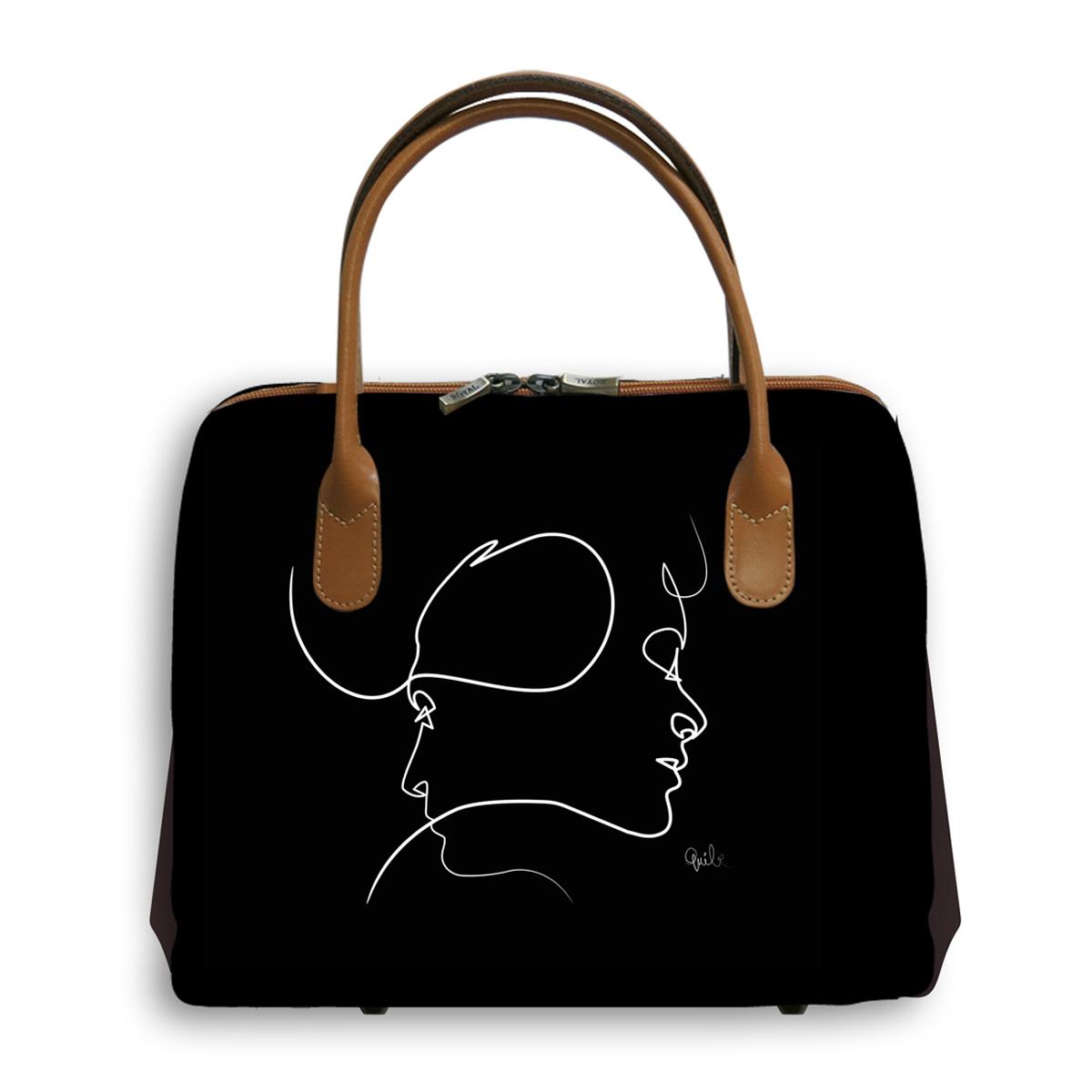 Sac créateur artisanal \'Quibe\' noir marron (Presque - visages)  - 30x26x11 cm - [A0330]