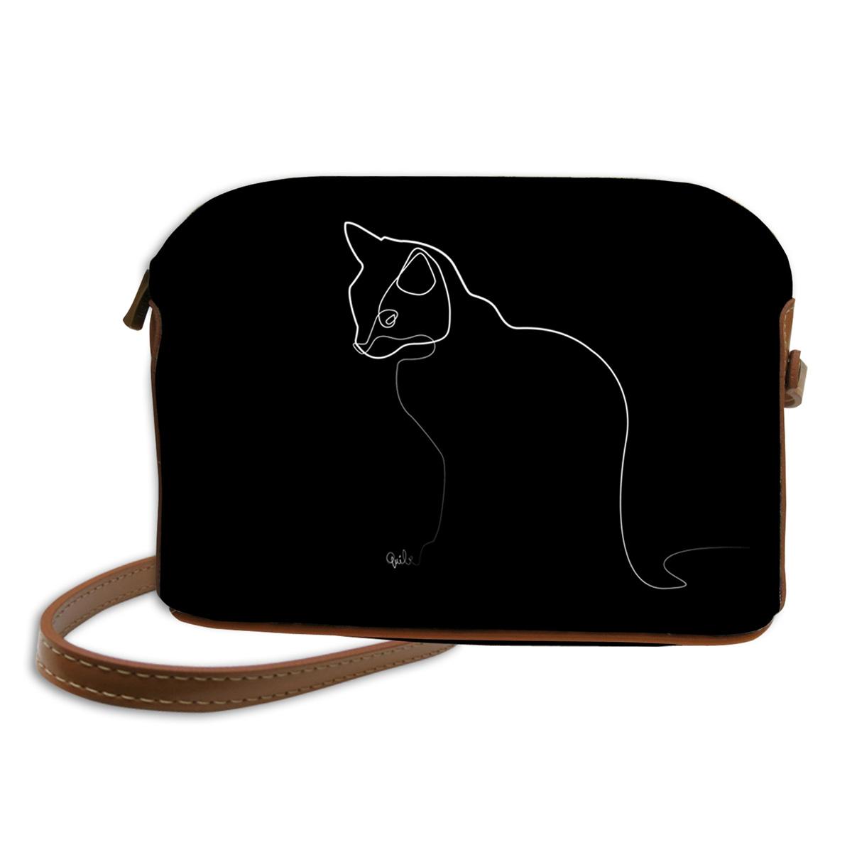 Sac bandoulière artisanal \'Quibe\' noir marron (Chat)  - 23x17x6 cm - [A0331]