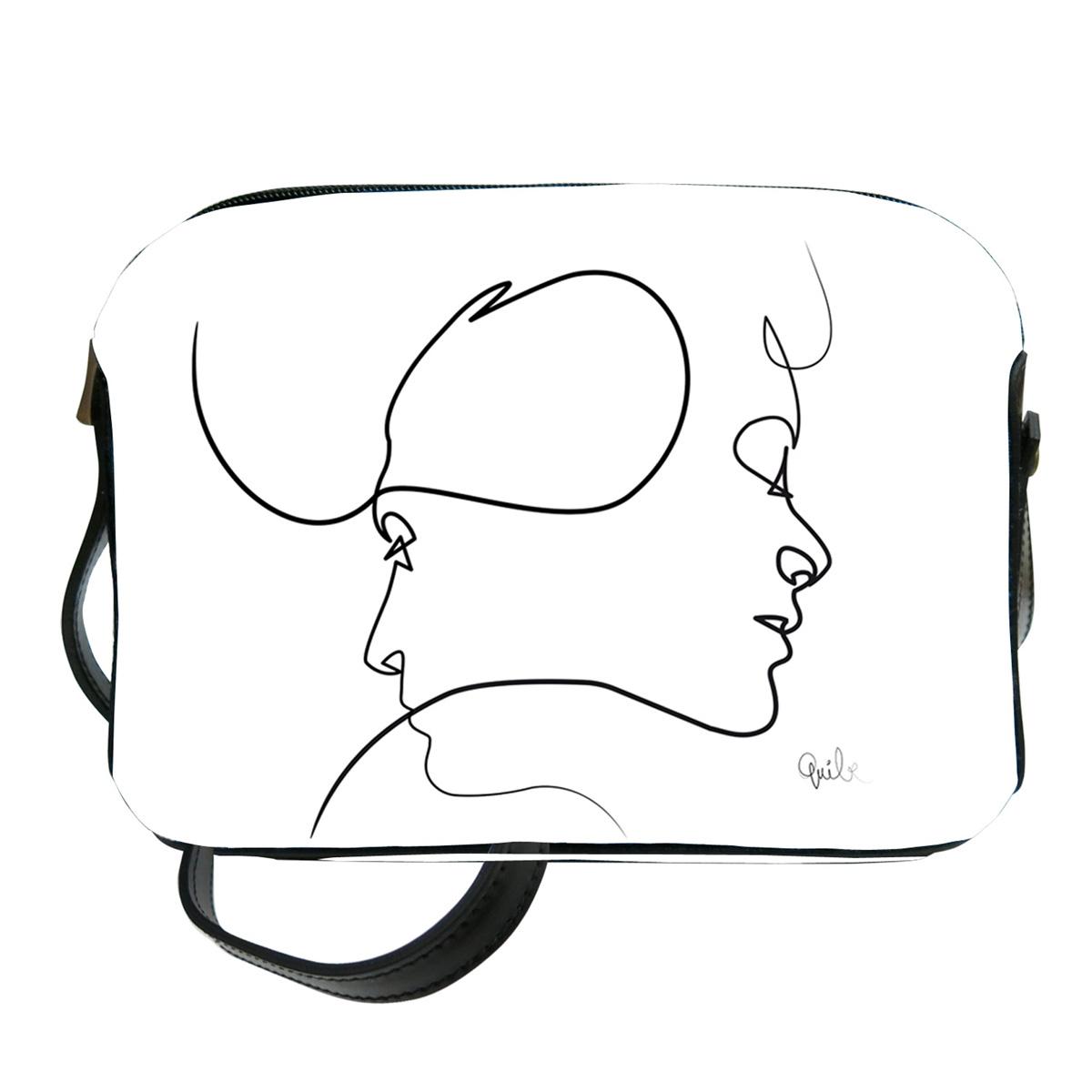 Sac bandoulière artisanal \'Quibe\' blanc noir (Presque - visages)  - 23x17x6 cm - [A0332]