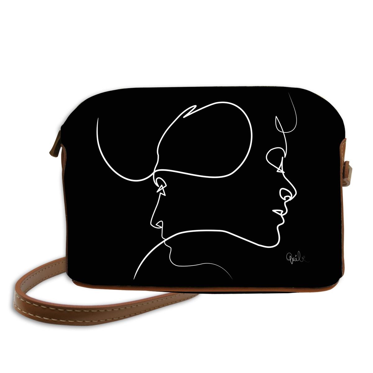 Sac bandoulière artisanal \'Quibe\' noir marron (Presque - visages)  - 23x17x6 cm - [A0333]