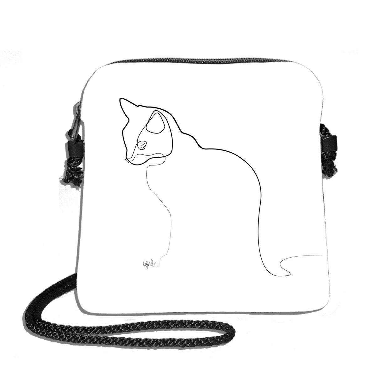 Sac bandoulière artisanal \'Quibe\' blanc noir (Chat)  - 18x17 cm - [A0334]