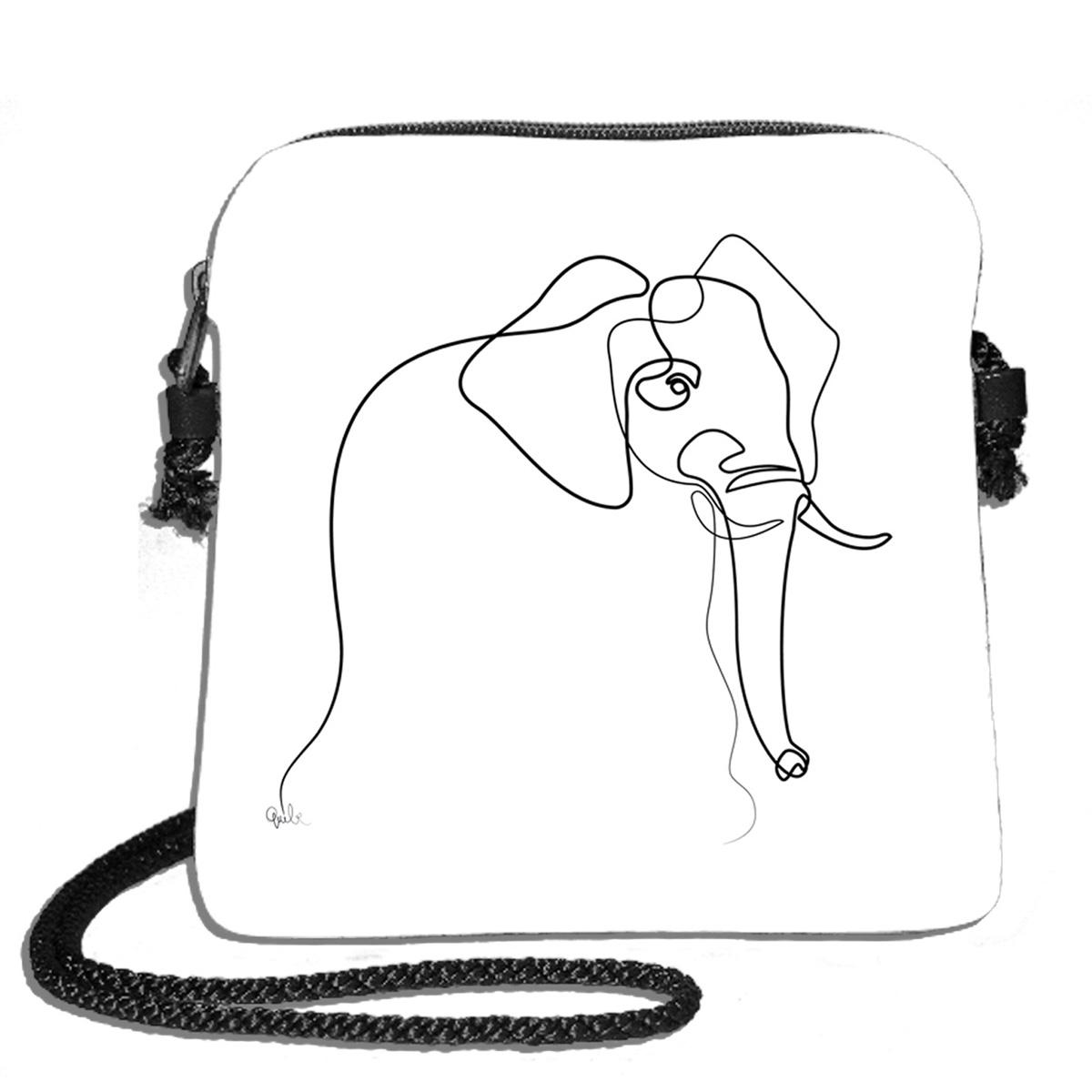 Sac bandoulière artisanal \'Quibe\' blanc noir (Elephant)  - 18x17 cm - [A0336]