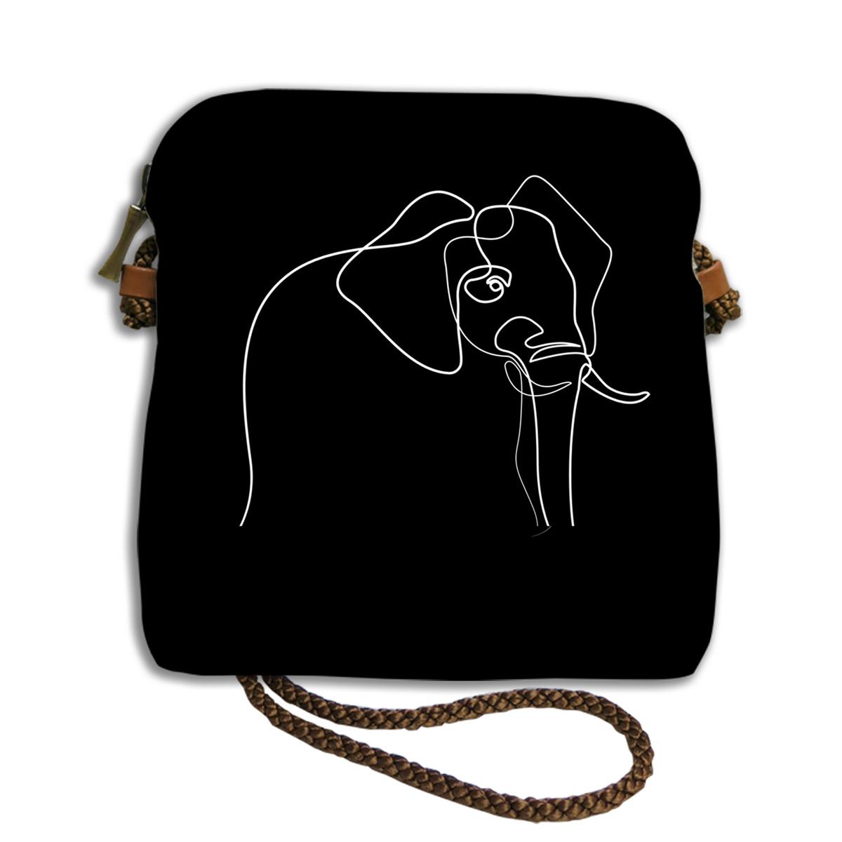 Sac bandoulière artisanal \'Quibe\' noir marron (Elephant)  - 18x17 cm - [A0337]