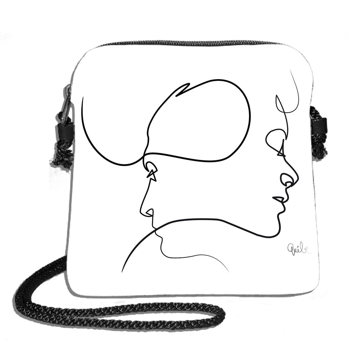 Sac bandoulière artisanal \'Quibe\' blanc noir (Presque - visages)  - 18x17 cm - [A0338]