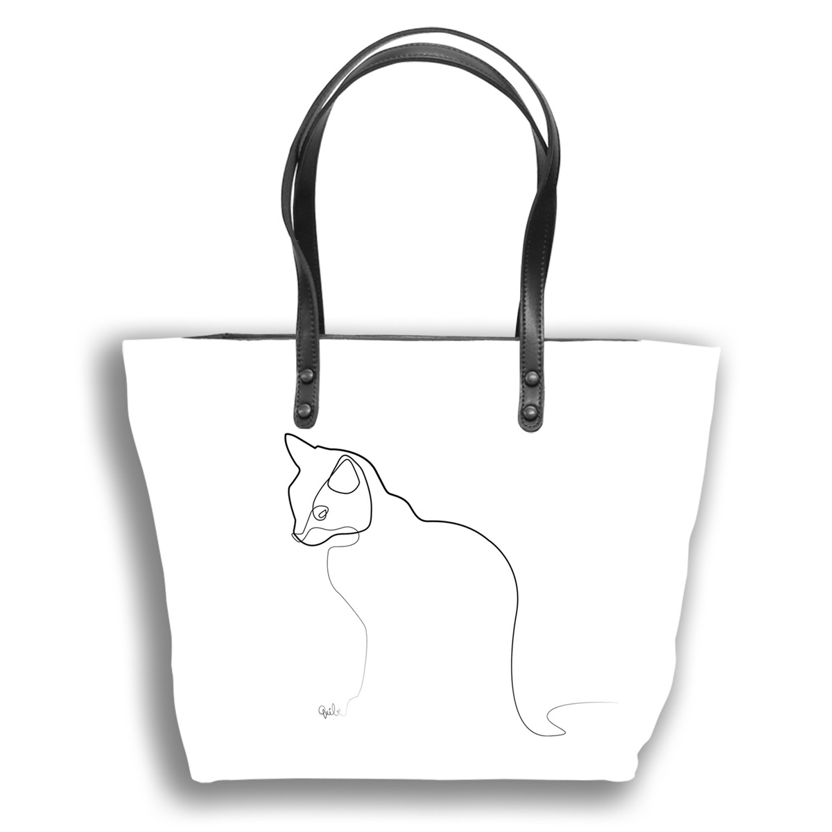 Sac créateur artisanal \'Quibe\' blanc noir (Chat)  - 44x27x14 cm - [A0340]