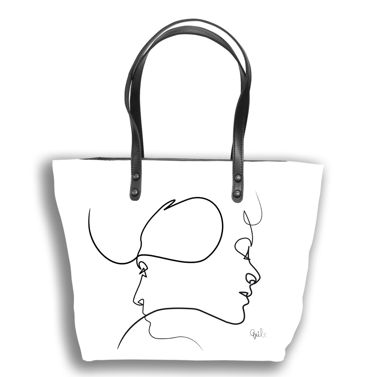 Sac créateur artisanal \'Quibe\' blanc noir (Presque - visages)  - 44x27x14 cm - [A0341]