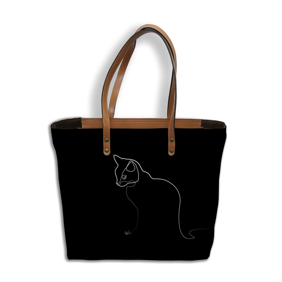 Sac créateur artisanal \'Quibe\' noir marron (Chat)  - 44x27x14 cm - [A0342]