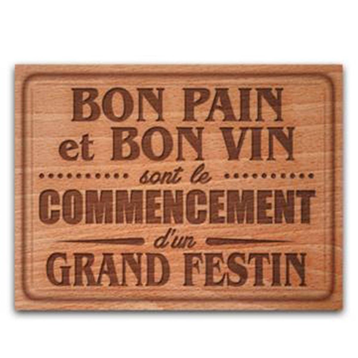 Planche à découpe / dessous de plat verre  \'Citations\' (Bon pain et bon vin ) - 40x30 cm - [P1046]