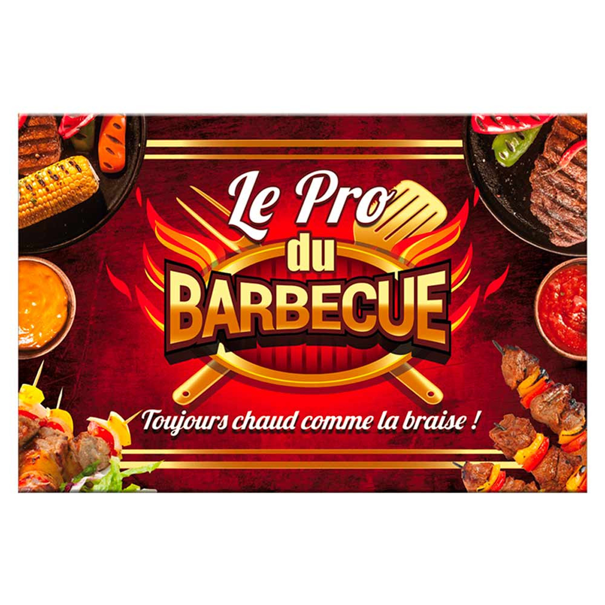 Planche à découpe / dessous de plat verre  \'Barbecue\' (saucisses, brochettes) - 30x20 cm - [P2917]