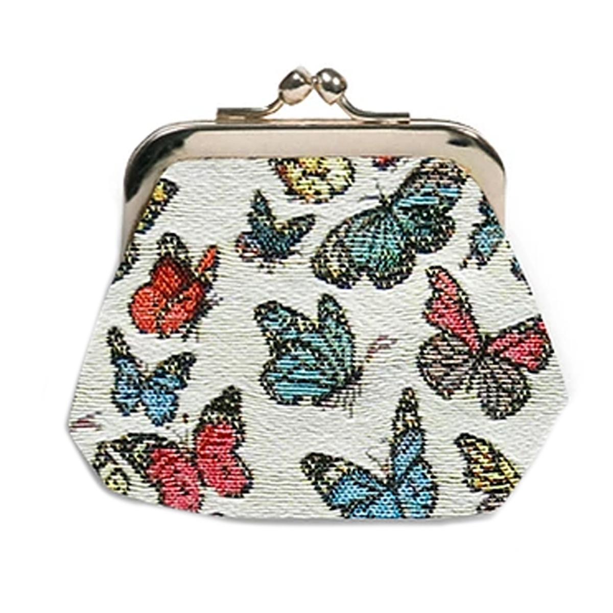 Porte-monnaie artisanal \'Royal Tapisserie\' blanc multicolore (papillons)  - 11x10x1 cm - [Q6302]