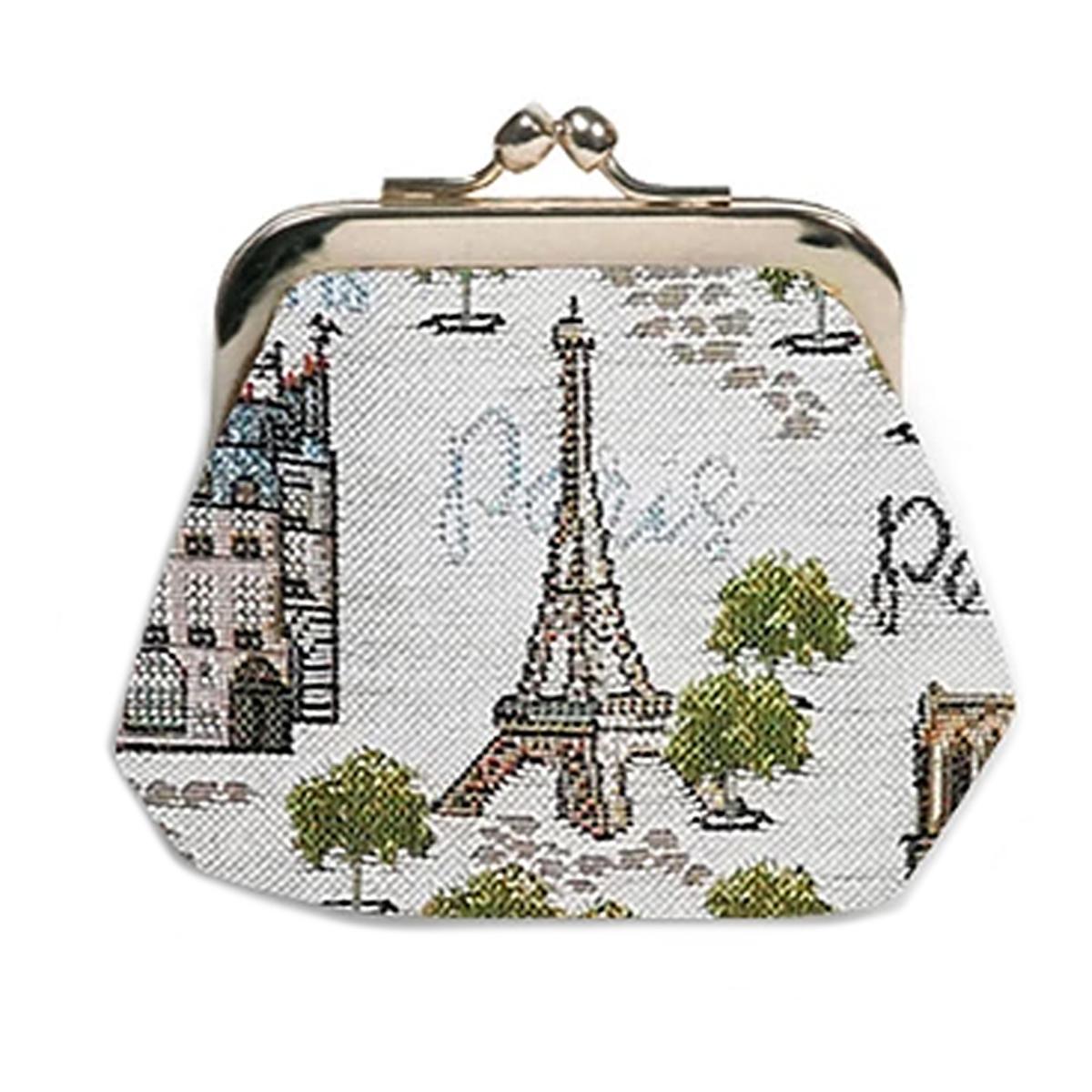 Porte-monnaie artisanal \'Royal Tapisserie\' beige (Paris Paname)  - 11x10x1 cm - [Q6304]