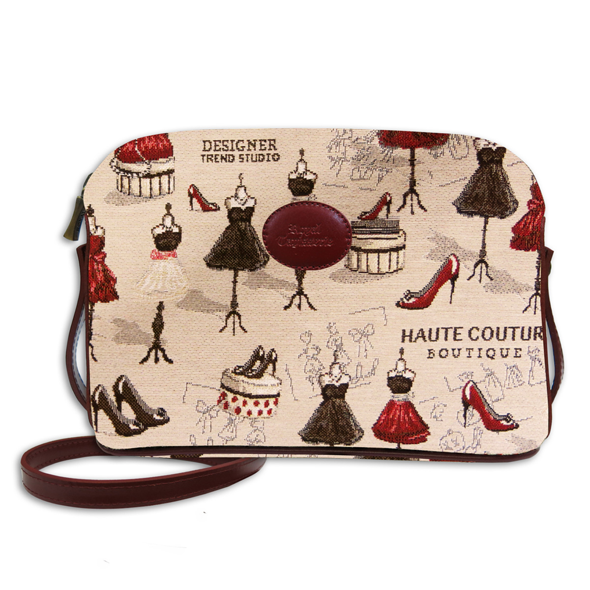 Sac bandoulière artisanal \'Royal Tapisserie\' beige rouge (Maison de Couture)  - 23x17x6 cm - [Q6310]