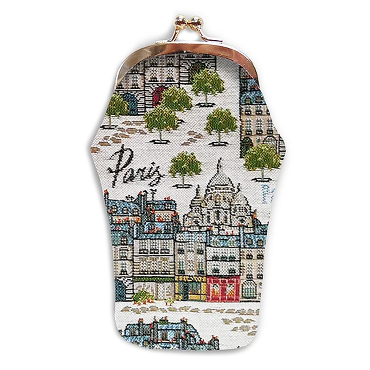 Etui à lunettes artisanal \'Royal Tapisserie\' beige gris (Paris Paname)  - 18x8 cm - [Q6311]
