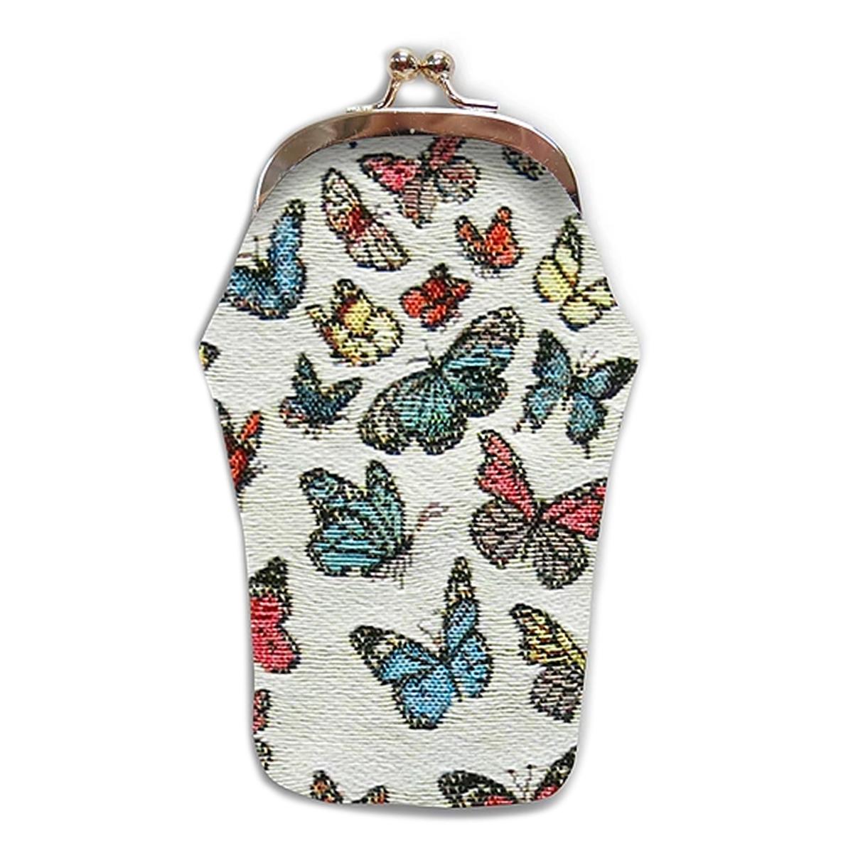 Etui à lunettes artisanal \'Royal Tapisserie\' blanc multicolore (Papillons)  - 18x8 cm - [Q6312]