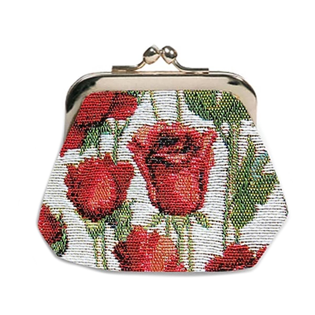 Porte-monnaie artisanal \'Royal Tapisserie\' blanc rouge (roses rouges)  - 11x10x1 cm - [Q6313]
