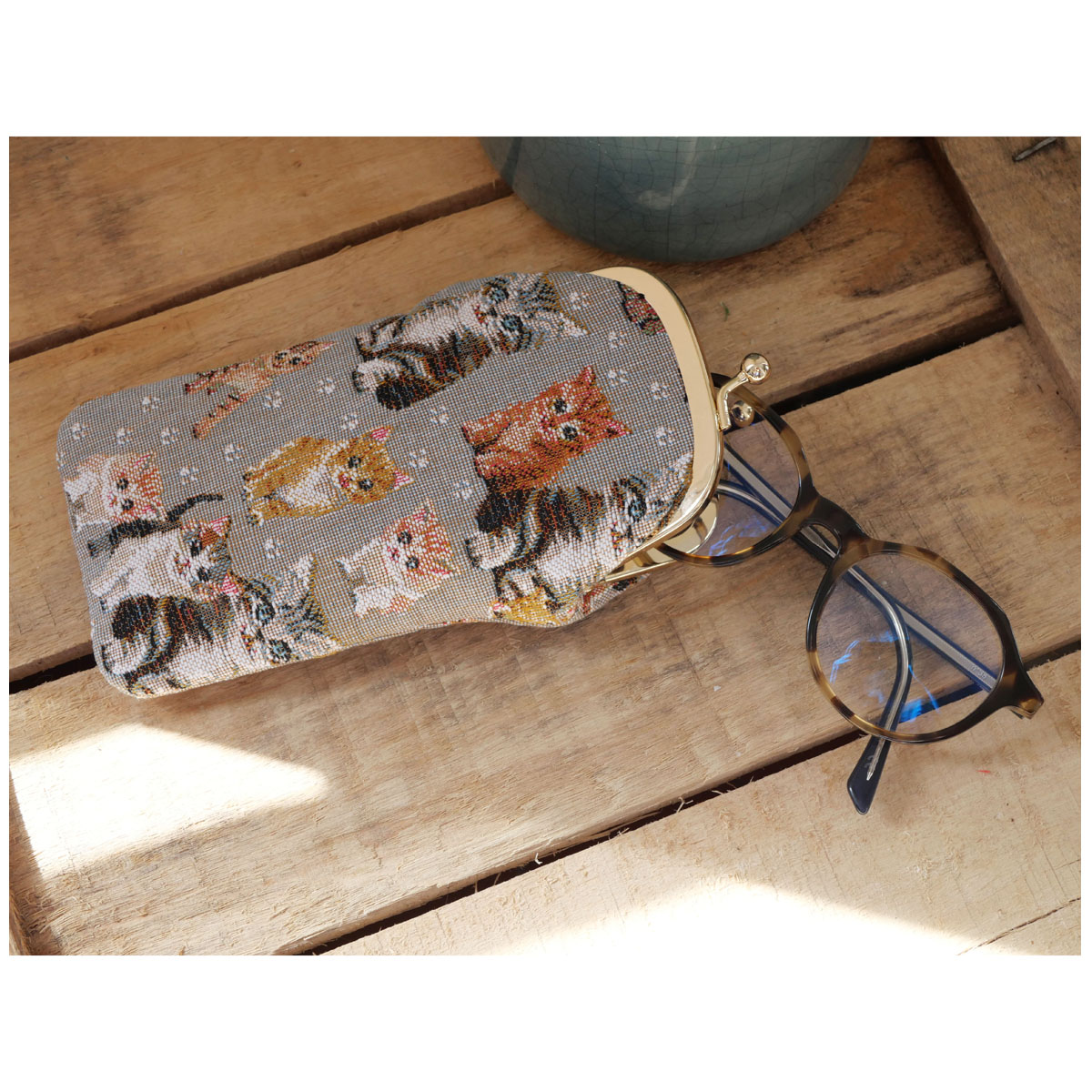 Etui à lunettes artisanal \'Royal Tapisserie\' gris marron (chatons)  - 18x8 cm - [Q6314]