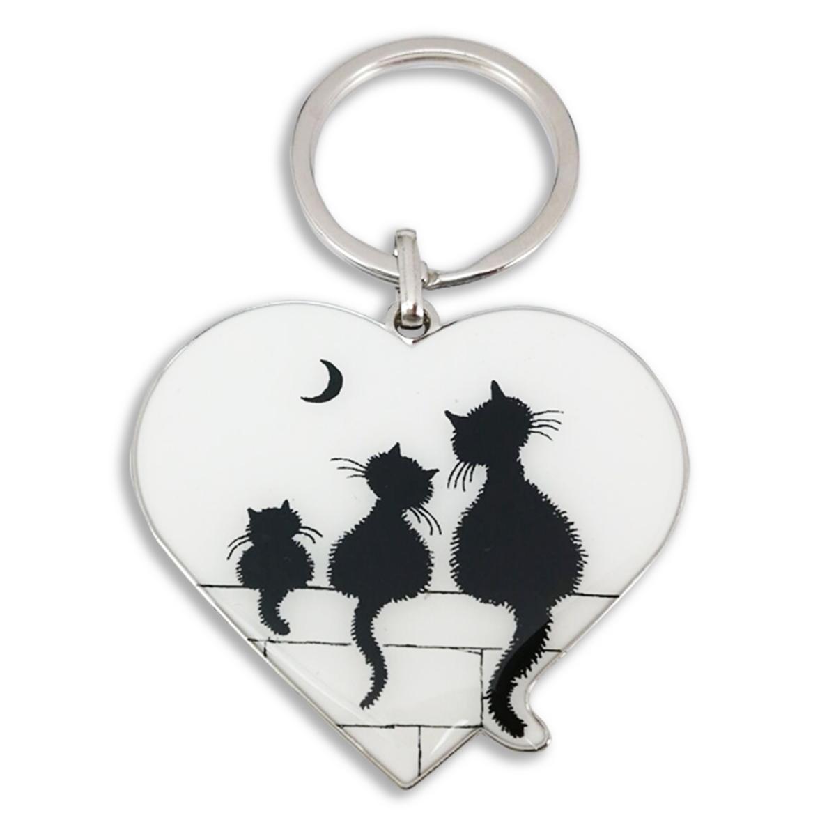 Porte-clés créateur \'Chats Dubout\' blanc noir (coeur trio) - 50x40 mm - [Q6339]
