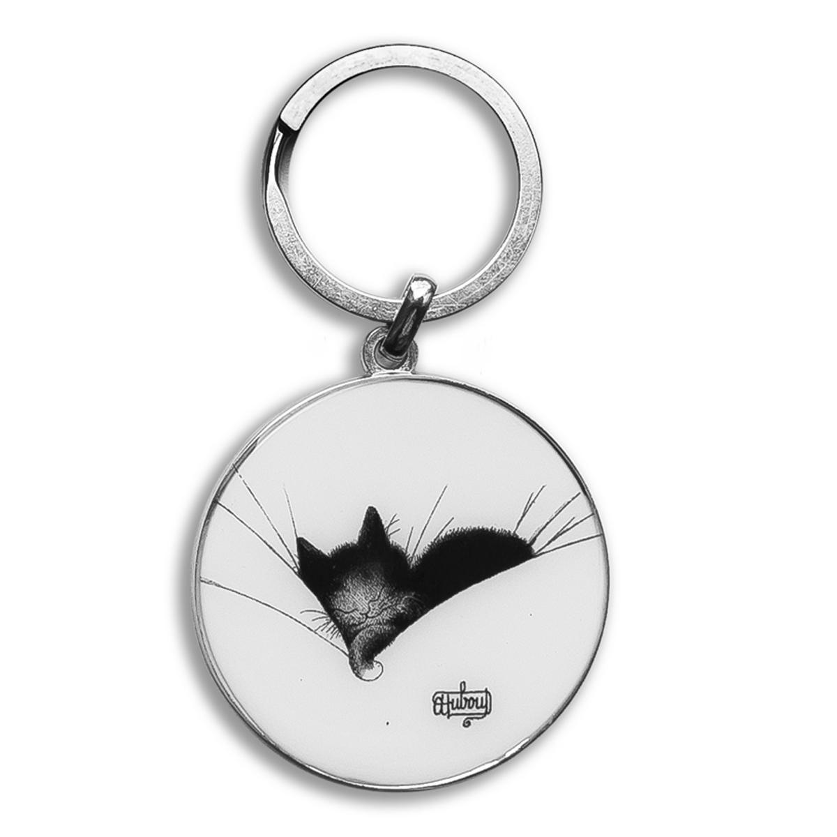 Porte-clés créateur \'Chats Dubout\' blanc noir (gros dodo) - 45 mm - [Q6340]