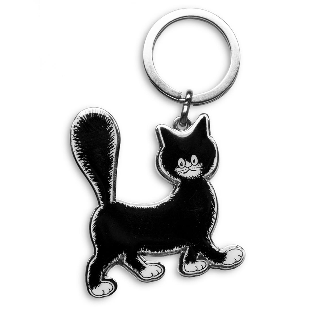 Porte-clés créateur \'Chats Dubout\' noir blanc  (mignonette) - 55x45 mm - [Q6342]