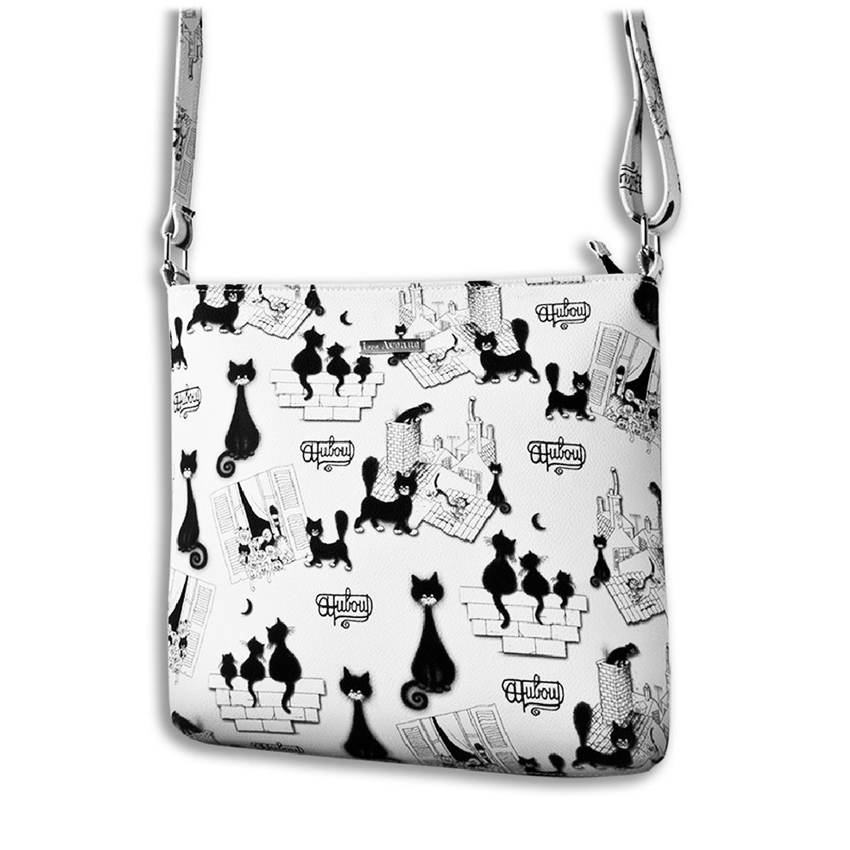 Sac bandoulière \'Chats Dubout\' blanc noir (Chat papillon) - 26x24 cm - [Q6348]