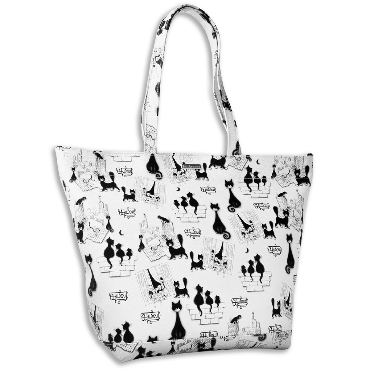 Sac shopping \'Chats Dubout\' blanc noir - 375x27 cm - [Q6350]