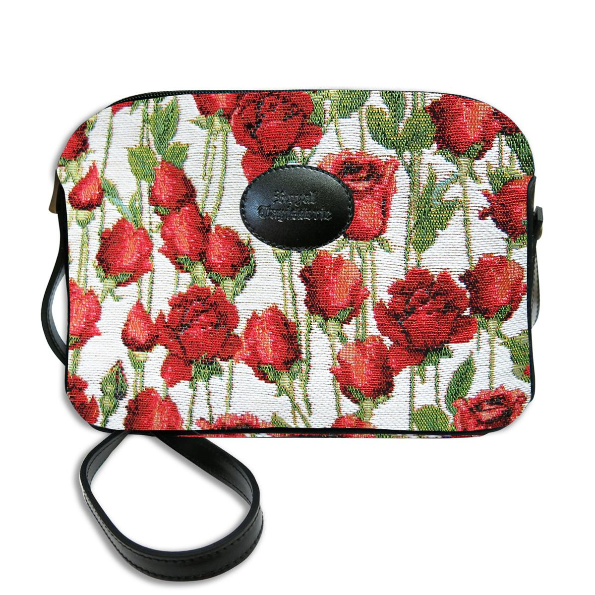 Sac bandoulière artisanal \'Royal Tapisserie\' blanc rouge (Roses rouges)  - 23x17x6 cm - [Q6373]